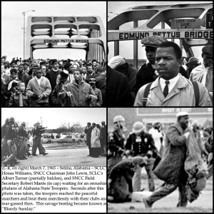 Standing on an oppressor... Marcher's of Bloody Sunday upon the Edmund Pettus Bridge